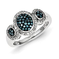 Sterling Silver 1/2 Carat Blue White Diamond Ring Available Exclusively at Gemologica.com
