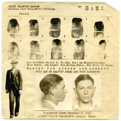 Clyde Barrow's fingerprint chart, 1934. You may know Clyde better as one half of the infamous Bonnie and Clyde...