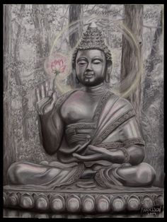 """Life is a succession of lessons which must be lived to be understood."" ― Ralph Waldo Emerson Charcoal,chalk and pastels, by Dennis Jones. Title: ""A Smile for Kasyapa. Spiritual Photos, Spiritual Path, Buda Zen, Dennis Jones, Sitting Buddha, Gautama Buddha, Zen Meditation, Buddha Art, Buddhism"