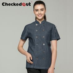 2017 New Fahion Restaurant Hotel Kitchen Chef Coats Jackets Uniform Short Sleeves Unisex Chambray Blue Ashes