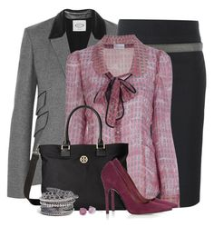 """""""Berries at the Office"""" by brendariley-1 ❤ liked on Polyvore featuring Tod's, Brunello Cucinelli, RED Valentino, Tory Burch, Topshop, Apples of Gold and Natasha Couture"""