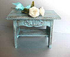 Rustic Aqua Footstool, Shabby and Chic Stool, French Country, Farmhouse, Beach Cottage, Distressed, Bedroom Decor  -$32.00 USD