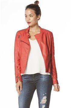 ShopBop : Dawn 11 Womens | Red Vegan Leather Moto Jacket