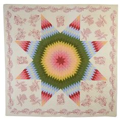 1stdibs   Lone Star Quilt with Embroidery
