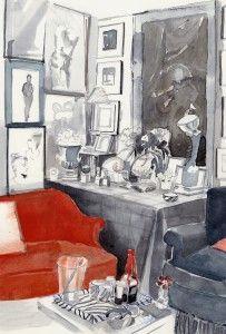 Mita Corsini Bland watercolor of Miles Redd's first apartment