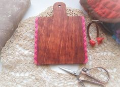 Hand painted wooden hornbook brown with pink PRIMITIVE STYLE by xJudesign on Etsy