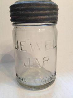 VINTAGE JEWEL JAR MASON BALL PINT CLEAR MADE IN CANADA ZINC LID W/GLASS INSERT