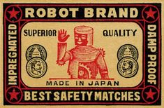 atomic-flash:Robot Brand - Vintage matchbox label, Japan
