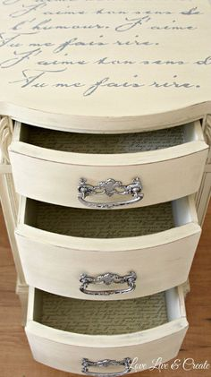 French Shabby Chic Painted Nightstand - info on this post lists how this was painted and stenciled and how the drawers were decoupaged with paper - via Hometalk