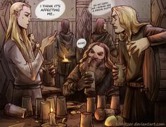 Gimli: Heeee can't hold his liquor..hehe..eh..*collapses*  Legolas: Game over.