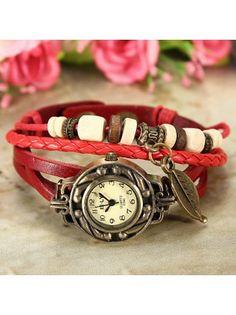 Weave Faux Leather Watch