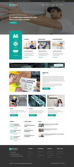 HVAC template is a business template for Joomla related to the HVAC industry. HVAC is an abbreviation for heating, ventilation and air conditioning. Air Conditioning Services, Air Conditioning System, Joomla Templates, Healthy Environment, Wordpress Theme, Web Design, Design Ideas, Conditioner, Business