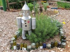 Adding color to your garden with glass bottles