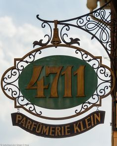 "Parfumerie by SafariBear Photography / Architecture / Other SafariBear Shop sign of a perfumery with the world famous sign of 4711 ""Kölnisch Wasser"". Storefront Signs, Pub Signs, Antique Signs, Shop Front Design, Business Signs, Shop Plans, Store Signs, Hanging Signs, Grafik Design"