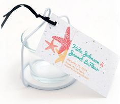 Starfish Plante Favor Tag. Attach to your favorite #weddingfavor. More spring and summer ideas http://www.maweddingguide.com/wedding-trends/wedding/MA-spring-weddings.htm