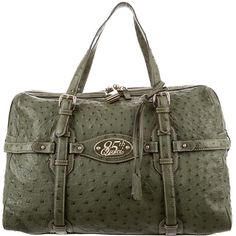 Pre-owned Gucci Ostrich 85th Anniversary Boston Bag (45 790 UAH) ❤ liked on Polyvore featuring bags, handbags, green, zipper handbags, pre owned handbag, embellished handbags, ostrich handbags and zipper purse