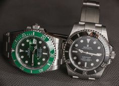 "Rolex Submariner 116610LV In Green Watch Review - by Ariel Adams - More on the ""Hulk"" at: aBlogtoWatch.com - ""The Rolex Submariner Date reference 116610LV, aka 'Hulk,' is the Rolex Submariner we all know and love (there are always dissenters, I imagine) but with a green ceramic bezel and green dial. It commands a price premium over the more traditional black ceramic bezel and matching black dial 'classic' Rolex Submariner..."""