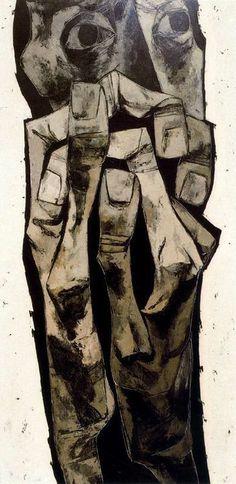 Oswaldo Guayasamin: Madre (Mother) no. 2 (1969) Óleo sobre tela. 200 x 100cm. La Edad de la Ira. Colección Fundación Guayasamín. Quito. Ecu...