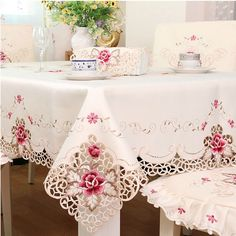Hoomy Embroidered Floral Tablecloths Off White Cutwork Table Cloth Hollow Rectangular Table Overlays Modern Table Covers for Dinning Table Lace Tablecloth Wedding, Floral Tablecloth, Round Tablecloth, Table Wedding, Party Wedding, Dining Table Cloth, Table Linens, Dinning Table, Kitchen Dining