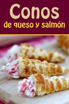 Conos de queso y salmón #aperitivo #hojaldre #fiesta