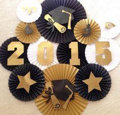 Graduation Themed Paper Fan Backdrop- Set of 13, Graduation Party Decorations, Graduation Backdrop, Class of 2015, Graduation Party by #pleatsonsheets