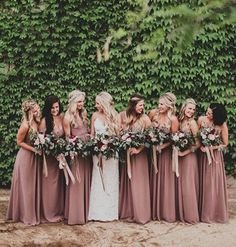 Love how these bridesmaids show off their Luxe Chiffon Topaz gown by #dessygroup #bridalparty #bridal #bride #bridesmaids #bridesmaidsdresses #patsbridals #bridesmaiddress #wedding #miamiwedding #miamibride