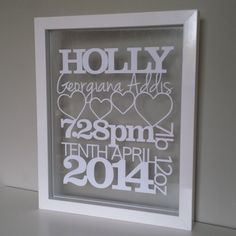 Baby Details Papercut (Name, Weight, Date of birth)