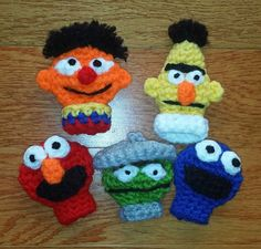 Sesame Street Crochet Finger Puppets by TinyButMightyHearts