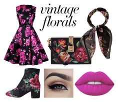 """Brilliant Roses - Vintage Florals"" by casyneecandy ❤ liked on Polyvore featuring Dolce&Gabbana, Halston, Lime Crime and vintage"
