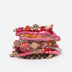 Fun jewelry additions to mix and match. Inspired by Kate's favorite colorful costume jewelry. Designed by Kate Valentine Spade for Frances Valentine. Pink Love, Red And Pink, Vintage Costume Jewelry, Vintage Costumes, Pandora Jewelry, Wire Jewelry, Bohemian Jewelry, Stretch Bracelets, Beaded Bracelets