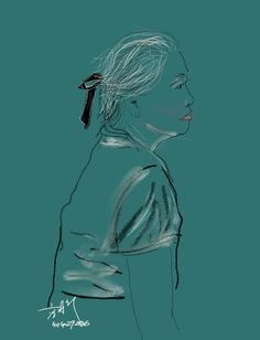 Spotted my mother wearing a black French ribbon watching the tele and thought I wanted to capture how beautiful it looked on her in a quick sketch. She rarely accessorises. Illustrated using Sketch…