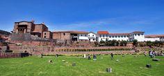The Cusco sun temple or Qurikancha (Coricancha), with the Convent of Santo Domingo.