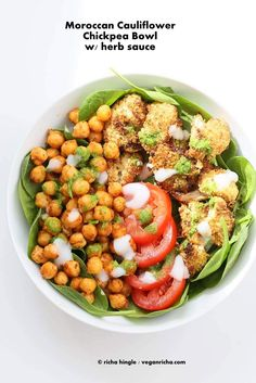 Moroccan Chickpea Cauliflower Bowl with Herb sauce. - Vegan Richa #vegan #recipe #bowl