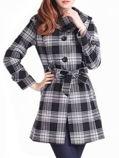 Plaid Stylish Turtleneck Overcoats Only $41.95 USD More info...