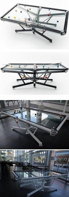 If you have a contemporary decor in your gameroom this is a must have!!Transparent pool table Si tu estilo es moderno y tu decoracion es contemporanea esta mesa de billar es esencial en tu sala de juegos.
