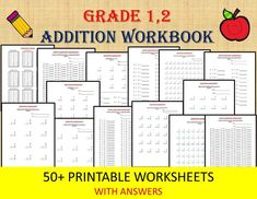 Math Addition Worksheets for Grade pdf/ Year Grade With Answers/ Numeracy Games Kids/ Printable addition - Modern 2nd Grade Worksheets, School Worksheets, Printable Worksheets, 1st Grade Math, Grade 1, Math 5, Basic Math, Addition And Subtraction Worksheets, Math Workbook