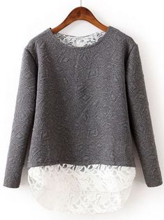2-fer geometric sweatshirt with lace underlay