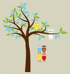Tree with cat and owl decal