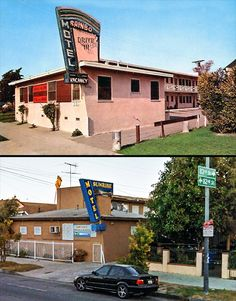 Los Angeles Then and Now: 8320 South Figueroa Street, Los Angeles.  Top Photo: Rainbo Motel, built in 1953. Bottom Photo: Sunrise Motel  (Bizarre Los Angeles)