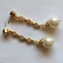 Gold plated dangling earrings with push backs and round faux pearls and rhinestones