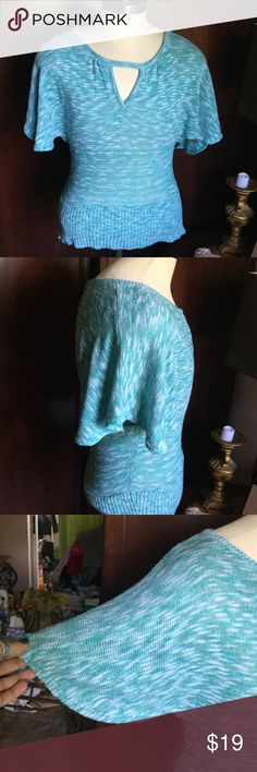 """{VANITY} - gorgeous sweater A aqua blue n white open sleeved gorgeous sweater! I love this but it does not fit anymore. You will not be disappointed...so perfect for fall bust measures: : 19"""" X 26"""" long Vanity Tops"""