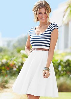 """White Multi (WHMU) Stripe Top Skirt Dress $39  Irresistible charm! ·  Tulle at end of lining hem   ·  Attached woven belt   ·  Invisible side zip   ·  20"""" in length from natural waist   ·  Top 50% poly, 50% rayon, skirt 97% cotton, 3% spandex lining 100% poly"""