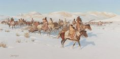 John Clymer (1907–1989), Moving Camp, oil on canvas, 20 x 40 in, Estimate: $150,000–$250,000