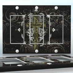 DIY Do It Yourself Home Decor - Easy to apply wall plate wraps   Black Talisman Cross  Tarnished silver cross  wallplate skin sticker for 3 Gang Decora LightSwitch   On SALE now only $5.95