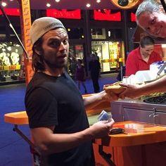 Sebastian ✪ Stan eating fast food fan in Germany