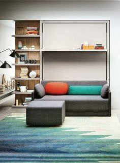 The Oslo 173 is a queen size fold-down wall bed with storage shelf & sofa. Fold bed up for Sofa. Sofa base lifts up for additional storage. Murphy-bett Ikea, Boys Bedroom Furniture, Guest Bedroom Office, Modern Murphy Beds, Resource Furniture, Transforming Furniture, Traditional Sofa, Murphy Bed Plans, Space Saving Furniture
