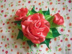 Ribbon flowers.
