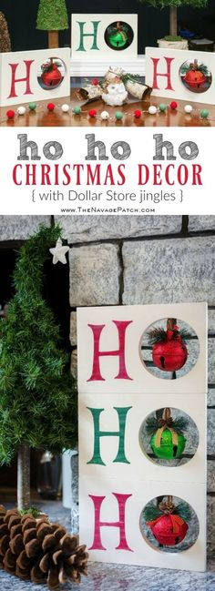 Diy Christmas decoration | HO HO HO Christmas decor | Dollar Store Christmas decoration| Scrap wood home decor | Upcycled Christmas decoration | Cheap & easy crafts | Simple woodworking | Stenciled home decor | Diy chalk paint | How to stencil | Festive home decor | #painted and #stenciled #diy #Christmas #crafts | TheNavagePatch.com by helene