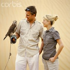Couple with Falcon Stock Photo ID:42-16845077