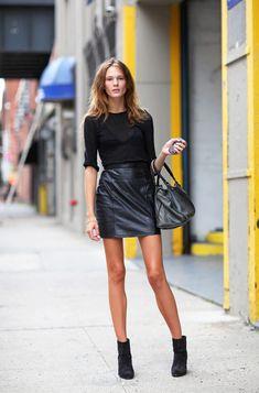 Leather Skirt Looks Inspired by New York Fashion Week Street Style Fashion Foto, Image Fashion, Look Fashion, Spring Fashion, Autumn Fashion, Fashion Outfits, Womens Fashion, Fashion Trends, Ny Fashion